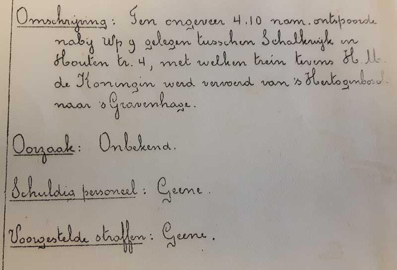 Het handschrift van de hr Gorissen, leidinggevende die een verslag schreef.