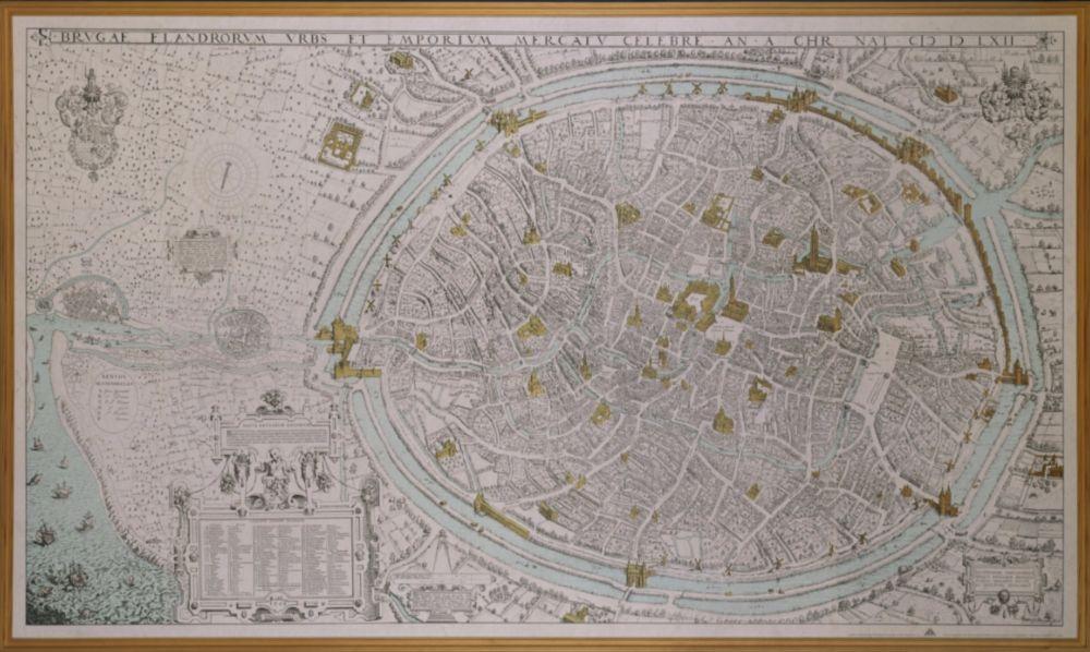 Kaart van Brugge door Marcus Gerards uit 1562