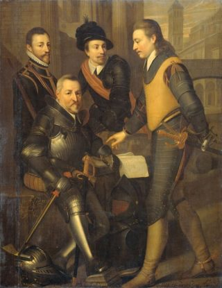 Lodewijk (links) met zijn broers Jan (zittend), Adolf, en Hendrik