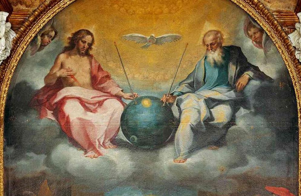 Schildering met Jezus aan de rechterhand van God