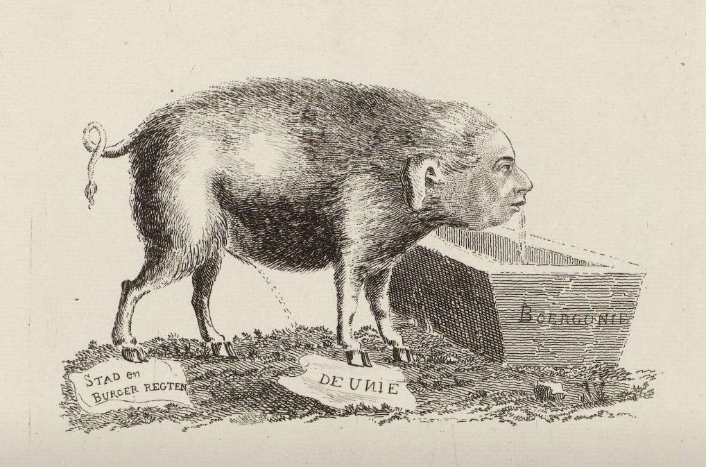 Stadhouder Willem V, afgebeeldt als een pissend en zuipend varken in een anoniem pamflet uit 1786. (Rijksmuseum)