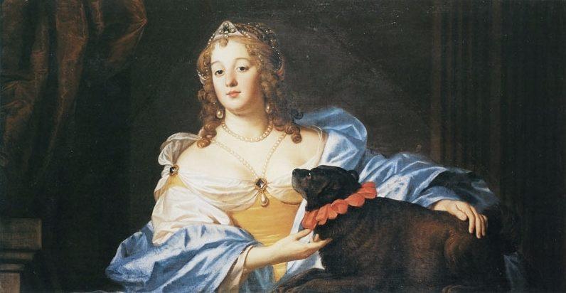 'De vrouwe van Slabata met een dikke zwarte hond'. Schilderij door G.van Honthorst, ongedateerd (Collectie Museum Schloss Mosigkau)