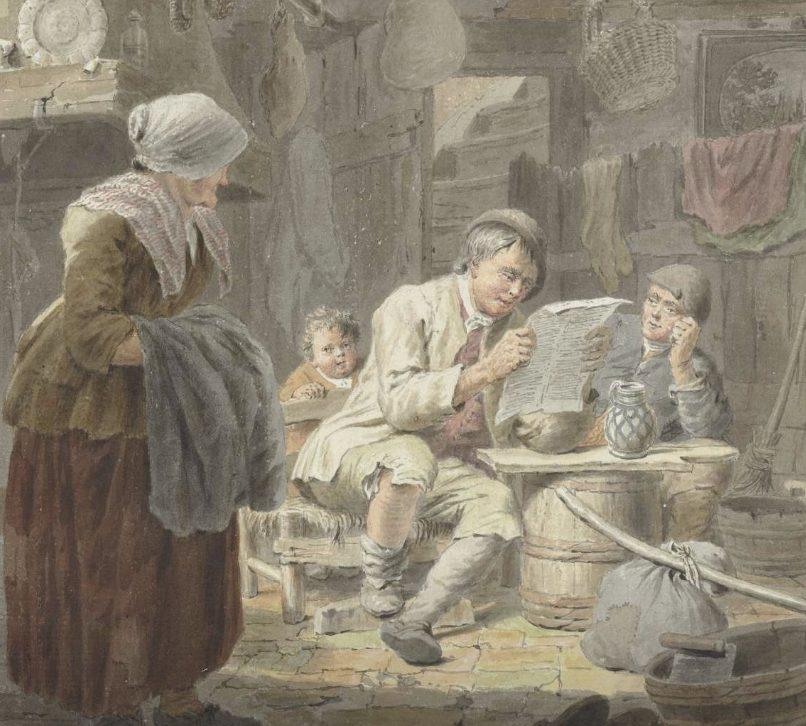De krantlezer, Cornelis van Noorde, 1741 - 1795 (Rijksmuseum)