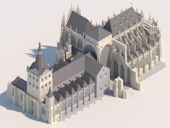 3D-reconstructie van de Bossche Sint-Jan kathedraal
