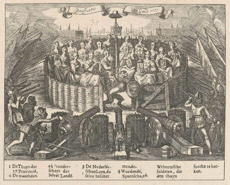 Allegorie op Pacificatie van Gent, naar Adriaen Pietersz. van de Venne. (Rijksmuseum)