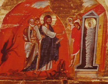 De opwekking van Lazarus, scène uit een iconostase. Begin van de 13e eeuw, Sint Katharina klooster, Sinaï - Egypte