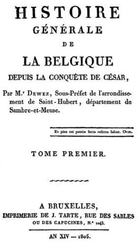Histoire générale de la Belgique (1805) - Louis Dieudonné Joseph Dewez /cc