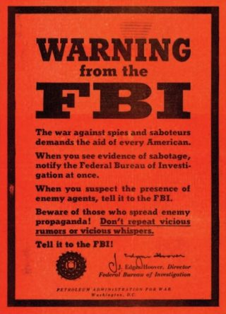 FBI-poster, ondertekend door Hoover
