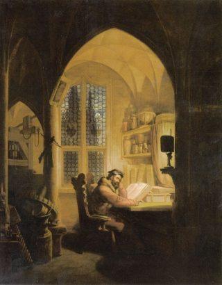 Faust in zijn studeerkamer - Geschilderd door Georg Friedrich Kersting