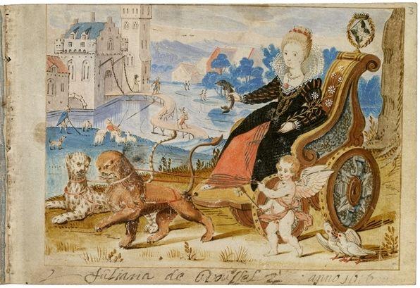 De openingsbijdrage in het album amicorum van de Friese edelvrouwe Juliana de Roussel. We zien Venus, wellicht Juliana zelf verbeeldend, op een praalwagen, geflankeerd door Cupido.