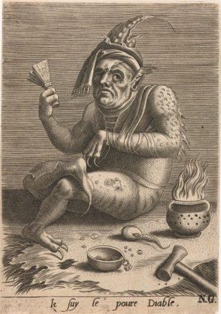 Je suy le poure Diable (ik ben de arme duivel). Leprozenbedelaar als duivel op een anonieme 16e-eeuwse gravure.