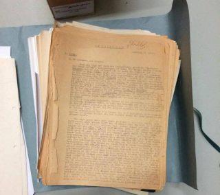 De Brede Weg', de 250 pagina's tellende memoires uitgetypt door Harm Bouman in gevangenschap. Foto: RHC Groninger Archieven/OVCG, toegang 2220, 121.