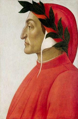 Dante Alighieri door Sandro Botticelli, met lauwerkrans