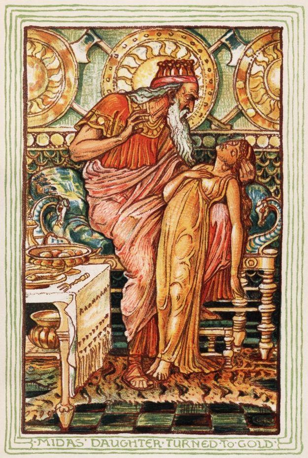 De dochter van koning Midas verandert in goud (Walter Crane, 1893)