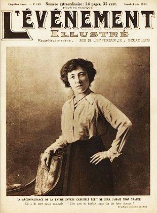 Foto van Gabrielle Petit op een tijdschrift uit 1919 (wiki)