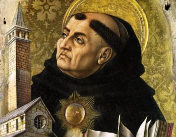 Thomas van Aquino; altaarstuk van Carlo Crivelli (detail)