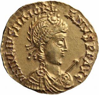 Voorzijde van een gouden munt van keizer Maiorianus (457-461 n.Chr.) uit de Nationale Numismatische Collectie, De Nederlandsche Bank