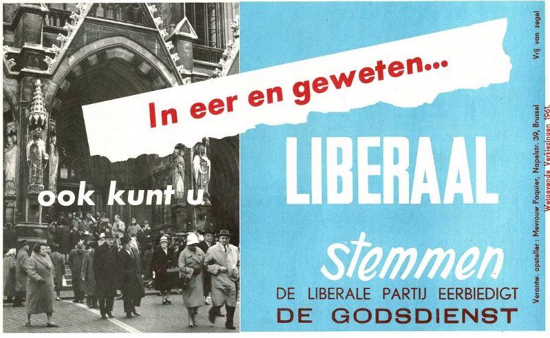 Affiche van de PVV uit 1961 die duidelijk aantoont dat een andere koers gevaren werd (Liberaal Archief Gent)