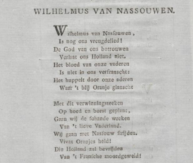 Eerste twee coupletten van het nieuw Wilhelmus na de bevrijding van de Fransen.