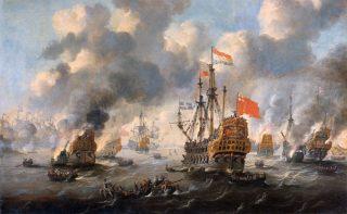 Een van de kernmomenten van de Engels-Nederlandse oorlogen - De tocht naar Chatham - Het verbranden van de Engelse vloot voor Chatham, door Peter van de Velde.