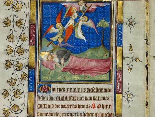 De Jacobsladder. Aartsvader Jacob droomt van een ladder naar de hemel (detail uit het Gebedenboek van Maria van Gelre).