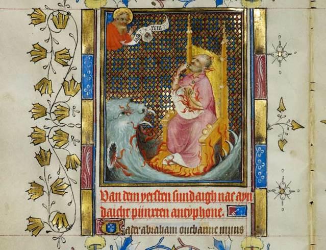 De rijke vrek vraagt om verlichting van zijn straf (detail uit het Gebedenboek van Maria van Gelre).