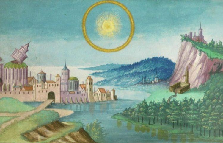 Afbeelding van de zon in het Augsburger Wunderzeichenbuch - cc
