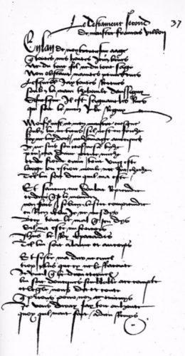 Eerste pagina van Villons 'Le Testament' - Kungliga biblioteket in Stockholm, Zweden
