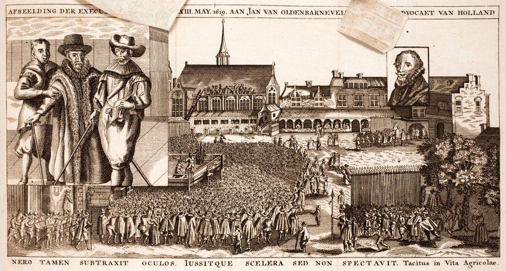 Executie van Van Oldenbarnevelt in Vondels toneelstuk Palamedes (Bibliotheek van het Vredespaleis)