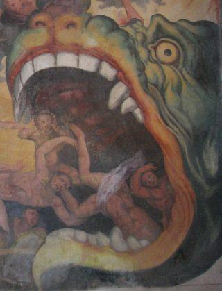 Leviathan in een fresco van Giacomo Rossignolo, ca. 1555