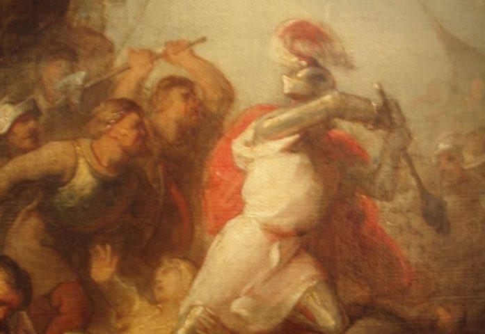 Otto II van Lippe gaat vechtend ten onder in de slag bij Ane (Frederik Zürcher, 1825-1876).