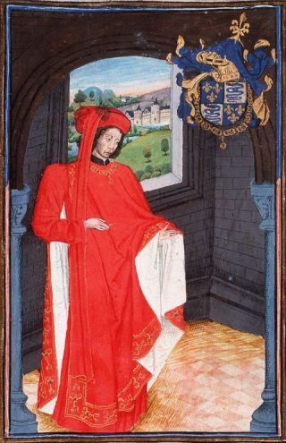 Afbeelding van hertog Karel van Orléans (1394-1465), zoals afgebeeld in de Statuts, Ordonnances et Armorial de l'Ordre de la Toison d'Or uit 1473. (Bron : Wikipedia)