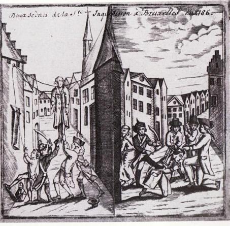 De mislukte ophanging en de onthoofding met een zaag van Willem van Criekinge (prent uit 1791)