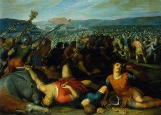 Kunstwerk van een veldslag waarin de Bataven de Romeinen verslaan van Otto van Veen