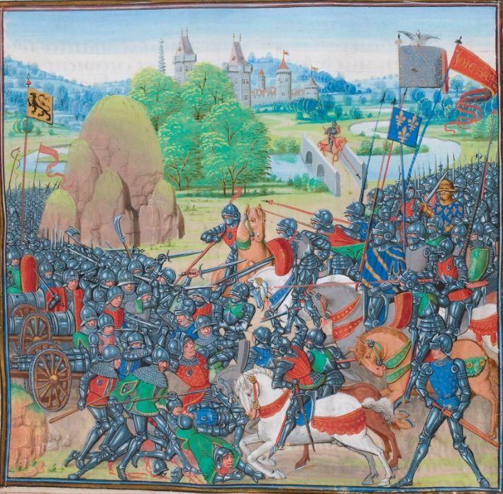 De Slag bij Westrozebeke uit de Kronieken van Jean Froissart.