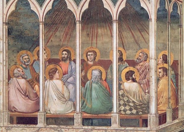Pinksteren afgebeeld door Giotto (Padua)