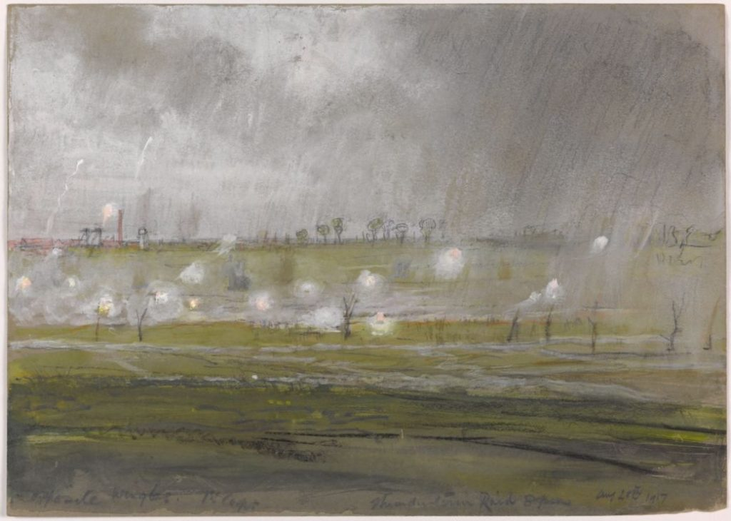 Opposite Wingles 1st Corps Thunderstorm Raid, 8pm August 28 1917 - © E H Shepard and Imperial War Museums, reproduced with permission of The Shepard Trust & Curtis Brown Group Ltd.