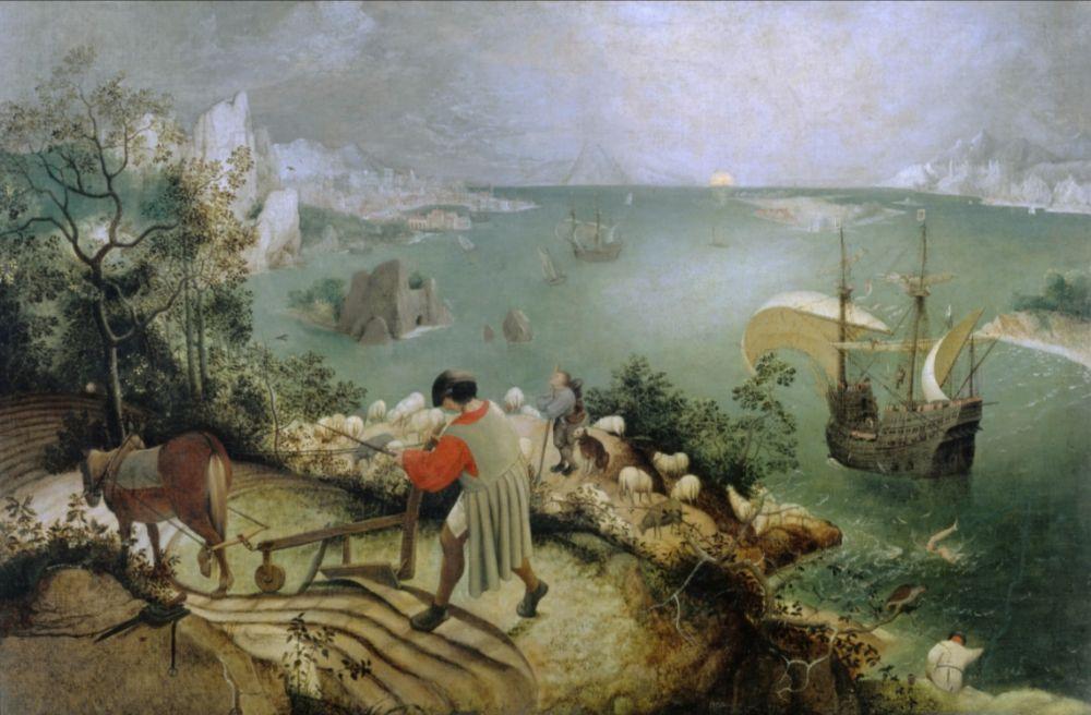 De val van Icarus - Pieter Bruegel de Oude, ca. 1558