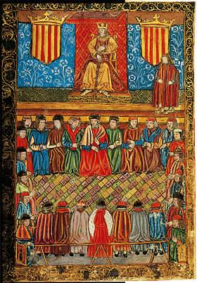 De Cortes van Catalonië op een miniatuur uit de 15e eeuw