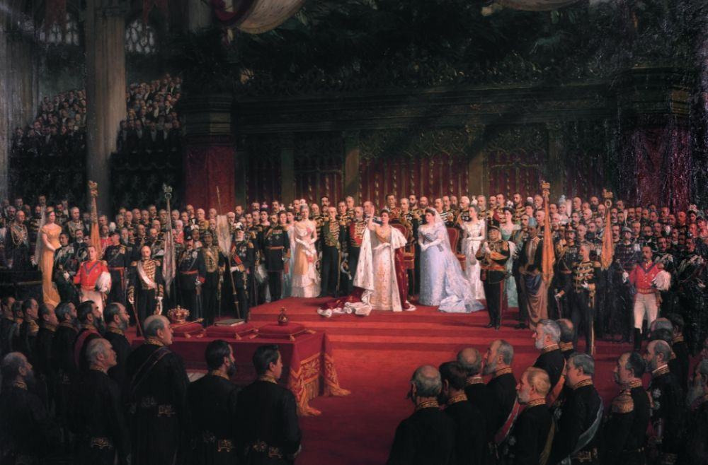 De inhuldiging van koningin Wilhelmina in 1898, Nicolaas van der Waay (Publiek Domein - wiki - Paleis Het Loo)