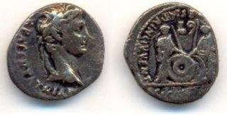 Denarius van keizer Augustus (4 n.Chr.)