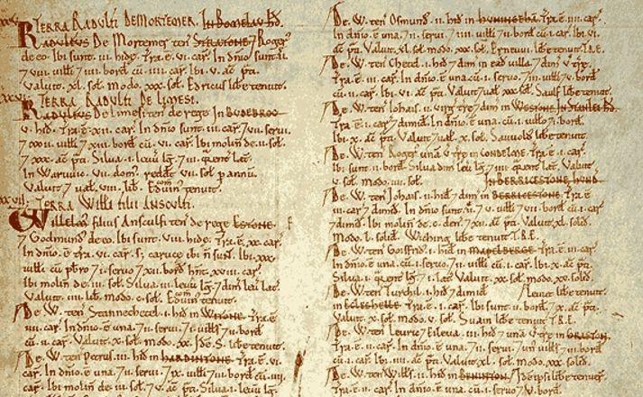 Detail van het Domesday Book