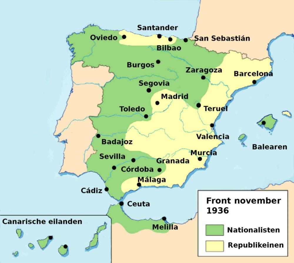 Front van de Spaanse Burgeroorlog, kaart van november 1936