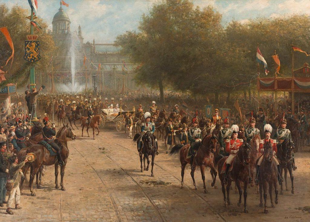 Intocht van koningin Wilhelmina in de Crème Calèche op het Frederiksplein te Amsterdam, 5 september 1898 (Otto Eerelman - Rijksmuseum)