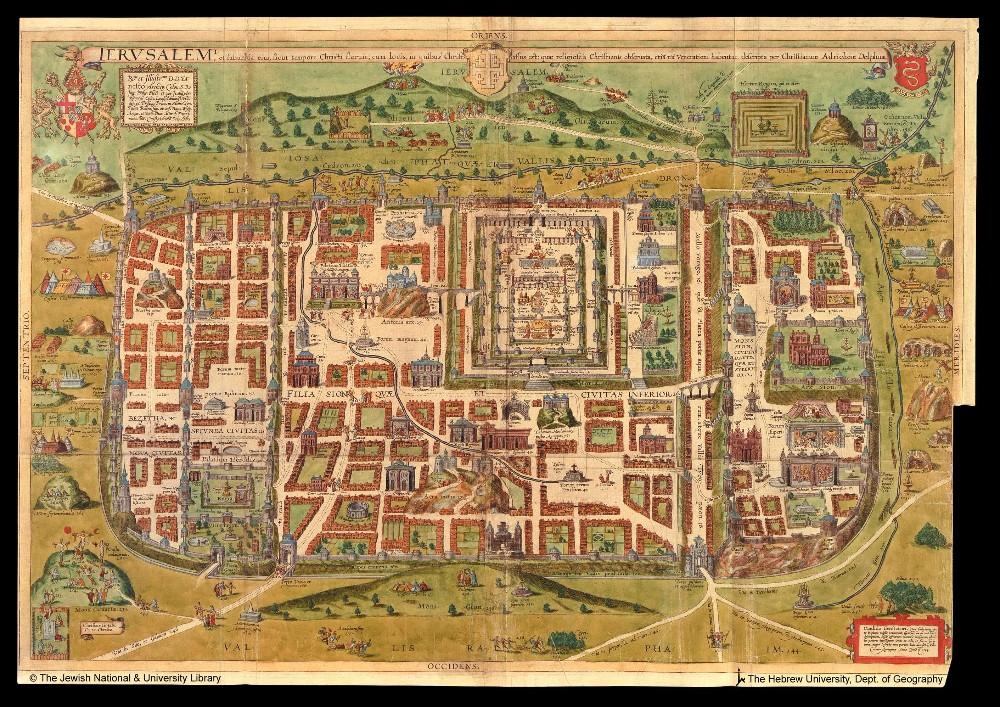 Kaart van Jeruzalem uit  1584 - Christian Kruik van Adrichem (1533—1585)