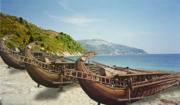 Slag bij Marathon - Perzische schepen op het strand bij Marathon - cc