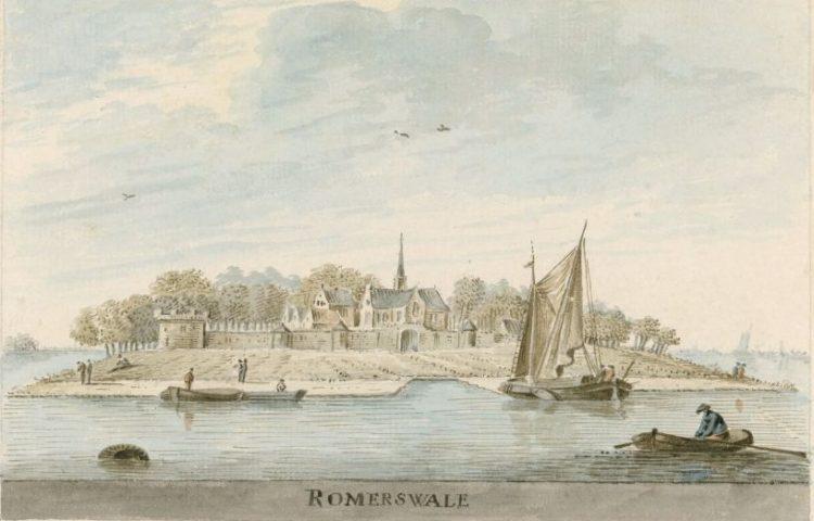 Zicht op Reimerswaal in 1607. (Afbeelding Zeeuws Archief)