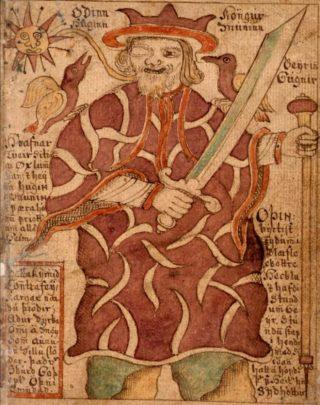 Odin met één oog, en Huginn en Muninn, manuscript uit de achttiende eeuw
