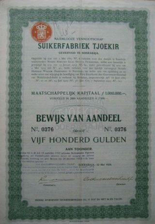 Aandelen van Tjoekir in 1924 zijn nog altijd te koop. (Bron: http://www.oudeaandelen-online.nl/?327,suikerfabriek-tjoekir)