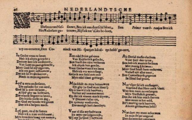 Wilhelmus door Adrianus Valerius in Nederlandtsche Gedenck-Clanck, 1626